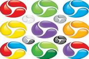矢量彩色旋转球素材