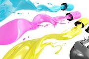 矢量创意彩色喷墨涂料素材