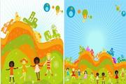 2款缤纷儿童插画矢量图