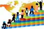 儿童与世界地图矢量图