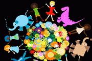 儿童动物花朵矢量素材