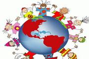 儿童手拉手围着地球矢量图