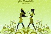 女孩友谊矢量素材