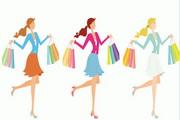 时尚购物女性插画矢量图
