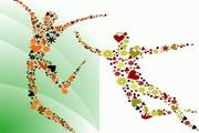 4款花朵组成的人物矢量图