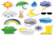 贴纸风格天气图标矢量图