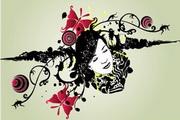 女性头像与花纹素材4