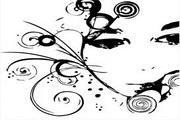 女性头像与花纹素材5
