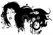 女性头像与花纹素材6
