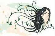 女性头像与花纹素材11