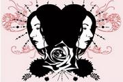 女性头像与花纹素材12