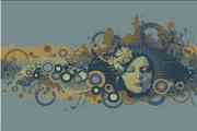 女性头像与花纹素材14