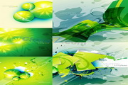 矢量绿色抽象曲线背景图