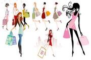 时尚购物美女矢量图