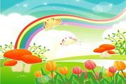 彩虹风景矢量图