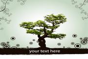 树木花纹圆点矢量图