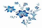 蓝色植物花纹PSD分层素材