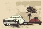 复古汽车椰子树矢量图