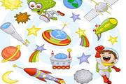 卡通太空图案合集矢量素材
