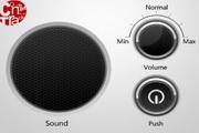 黑色质感按钮PSD