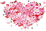 缤纷花朵情人节矢量图