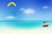 海边沙滩风光矢量图