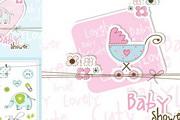 婴儿主题元素卡片