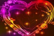 情人节炫彩心型光线矢量素材