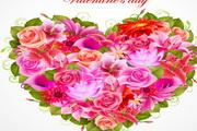 情人节鲜花背景矢量素材