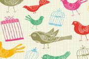 卡通插画小鸟鸟笼矢量素材