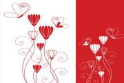 抽象红色花纹背景矢量图