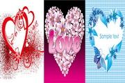 3款花朵心形矢量图