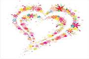 可爱花朵心形矢量图
