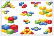 矢量彩色3D方块素材