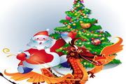 圣诞老人卡通龙形象矢量素材
