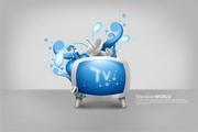 蓝色花纹电视机PSD