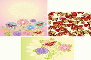 蛾子与可爱花朵矢量素材