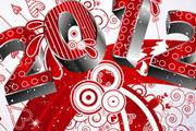 2012圣诞节创意字体矢量素材
