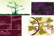 4款花纹花朵植物矢量图