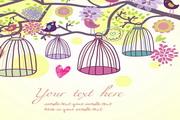 可爱卡通鸟插画矢量模板