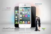 智能手机正视图与人物PSD素材
