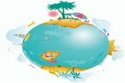 地球休闲生活插画矢量图