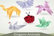 创意折纸动物图形矢量图素材