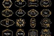 欧式经典花纹标签矢量素材