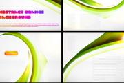 动感绿叶丝带背景矢量素材