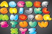 可爱卡通的26个英文字母矢量素材