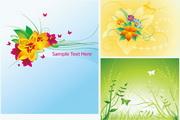 花卉植物蝴蝶矢量素材