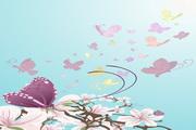 紫色蝴蝶花朵矢量图