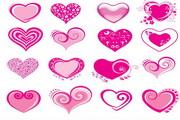 矢量粉红色爱心素材
