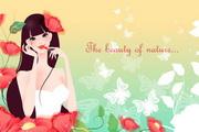 精美卡通美女背景鲜花蝴蝶矢量素材